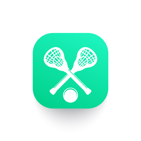 Lacrosse icon with sticks and ball, vector illustration