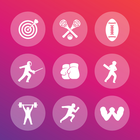 Sports icons set, archery, boxing, lacrosse, cricket, fencing, football, weightlifting, running, arm wrestling Illustration