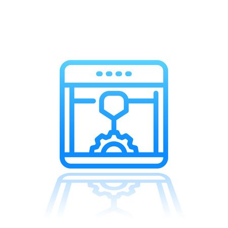 3d printer line icon isolated over white, printing, additive manufacturing vector illustration Illustration