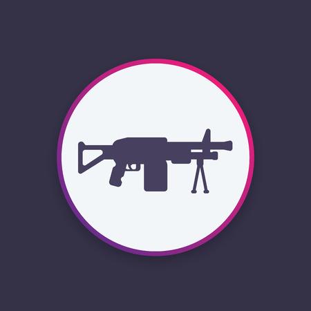 Machine gun icon, vector silhouette Illustration