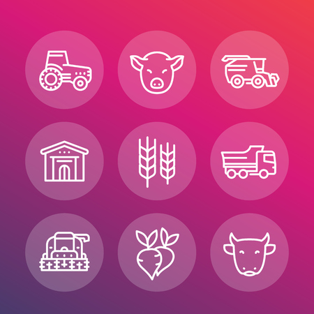 Agriculture and farming line icons set, tractor, combine-harvester, agricultural machinery, harvest, stock raising, barn, vector illustration Illustration