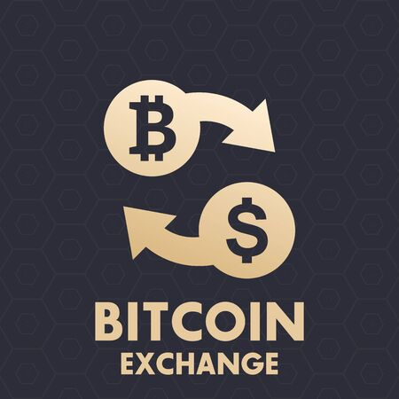 Bitcoin to dollar exchange vector icon Illustration