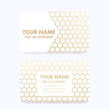 Business card template with geometric gold pattern over white Illustration