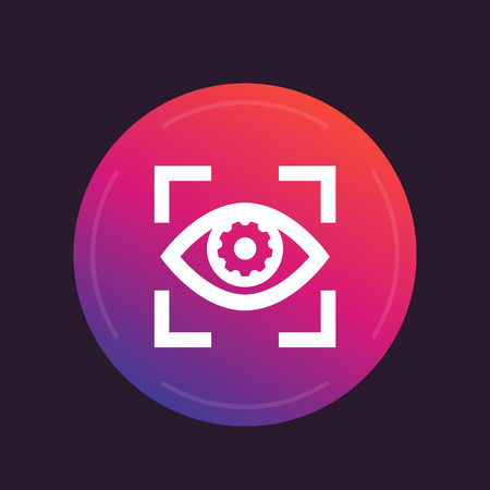 Eye with gear icon, vector pictogram