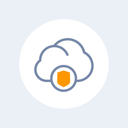 secure cloud line icon isolated over white