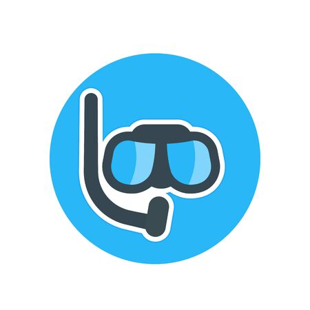 Diving mask flat icon over white, vector illustration