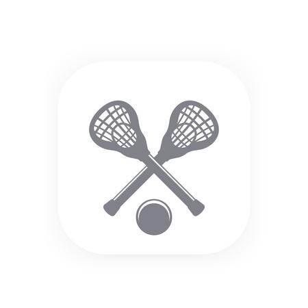 Icono de Lacrosse, pictograma con palos y pelota