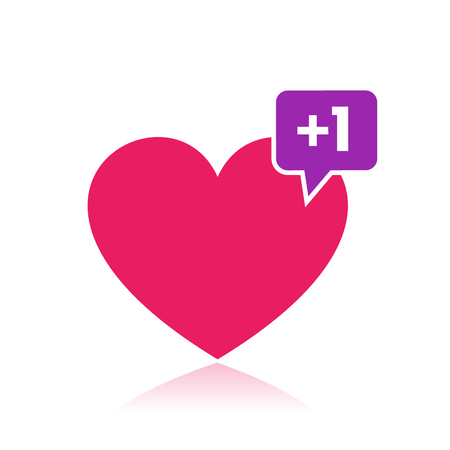 heart like with notification, icon for web design and print