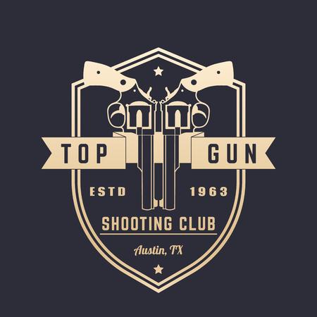 Gun club vintage logo, vector emblem with revolvers over shield