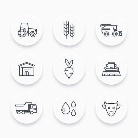 Agriculture, farming line icons set, tractor, agrimotor, harvest, cattle, agricultural machinery, storage