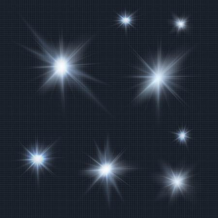 Flares, rays, beams, cold light vector effects Illusztráció