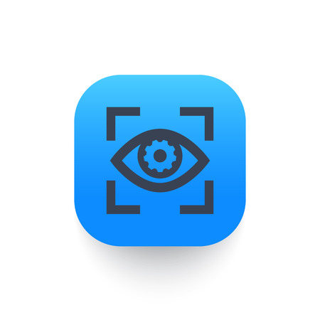 eye with gear icon, symbol