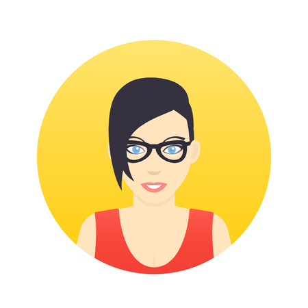 Avatar icon, girl in glasses with short haircut in flat style over white