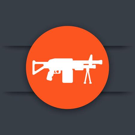 Machine gun icon, automatic firearm round pictogram