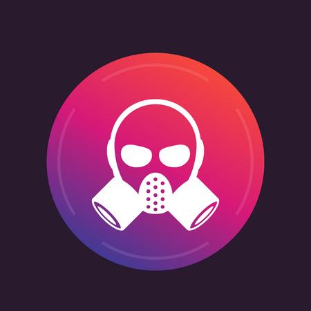 Gas mask, respirator round icon, vector illustration