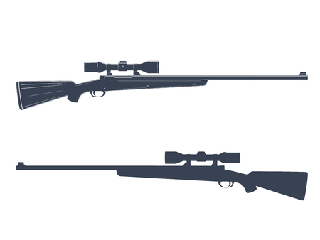 Hunting rifle with telescopic sight, silhouette of sniper firearm