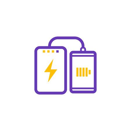 Power bank charging smartphone icon Illustration