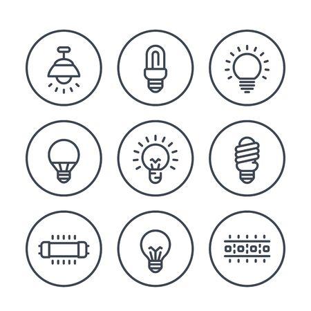 éclairage, icônes de ligne ampoules sur blanc, LED, CFL, lampes fluorescentes, halogènes et bande de LED Vecteurs