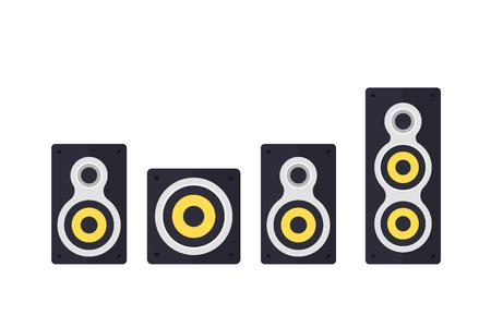 audio speakers on white vector illustration Stock Illustratie