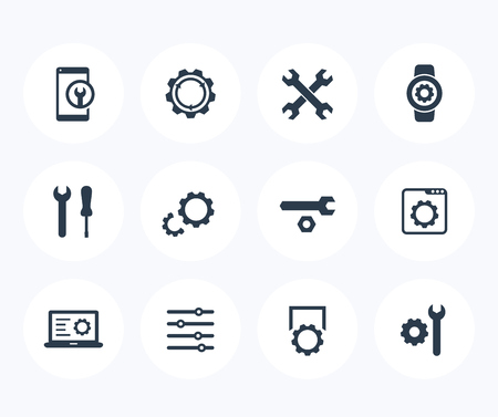 Settings, configuration, repair service icons on white