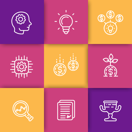 Startup line icons, creative process, idea, initial capital, funding, innovation, crowdfunding