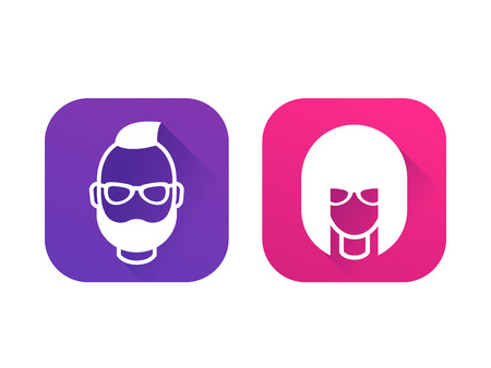 Avatars, geeks, girl and bearded man, profile icons on white