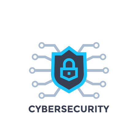 Cyber security vector with shield