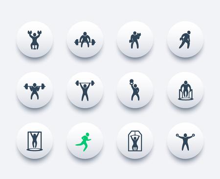 Gym, fitness exercises, workout, training icons set