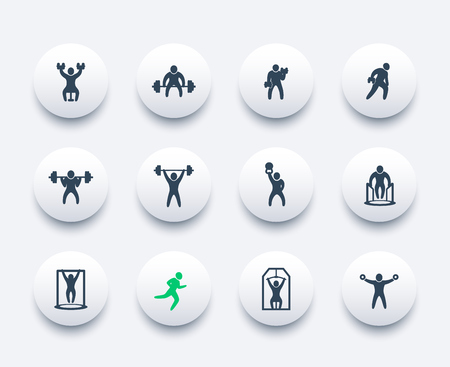 Gym, fitness exercises, workout, training icons set