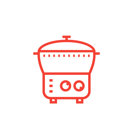 electric cooker icon, steamer, multi cooker in linear style
