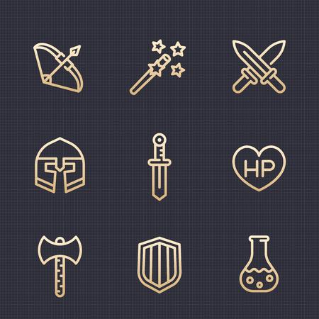Game line icons set, RPG, fantasy items, swords, axe, magic wand, shield, bow, helmet, potion, vector illustration Illustration