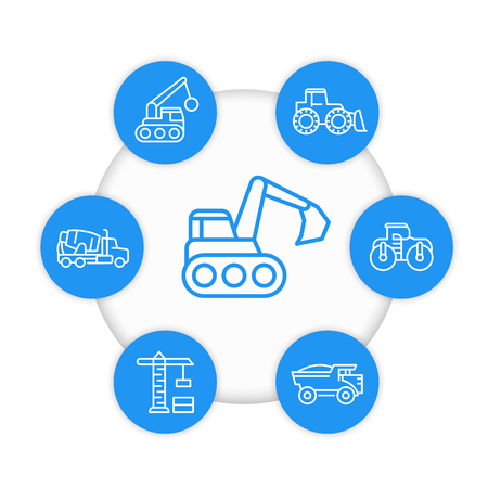 Construction vehicles line icons, heavy machines, excavator, concrete mixer. Illustration