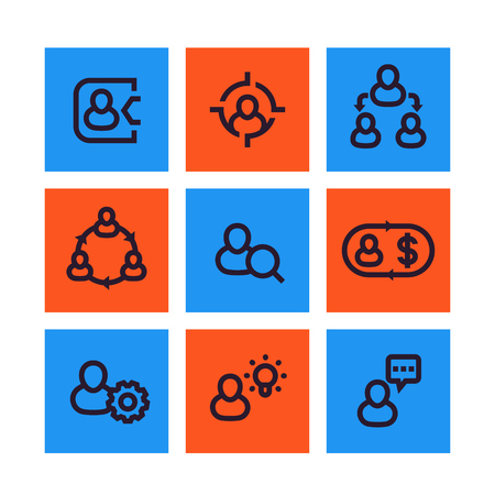 Management, human resources, HR icons, social interaction, delegation linear pictograms Vettoriali