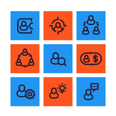 Management, human resources, HR icons, social interaction, delegation linear pictograms Çizim