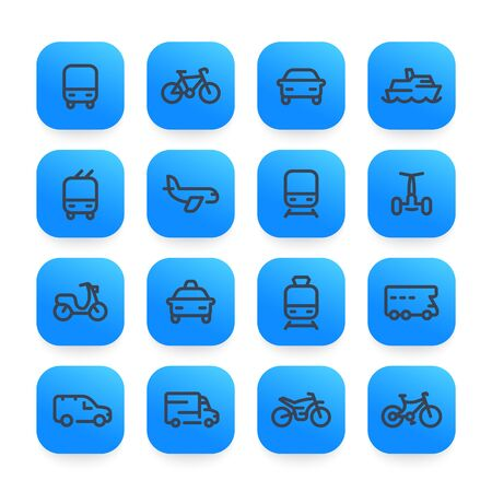 Transport icons, set in linear style. Ship, train, airplane, bike, and more on white background.