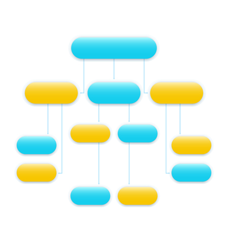 flowchart vector template, modern design in blue and yellow Ilustração