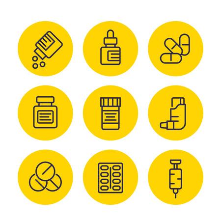 medicaments line icons set, pharmaceutics, drugs, medicine, inhaler, syringe