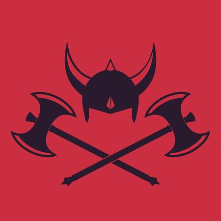 Vikings Helmet and crossed battle axes