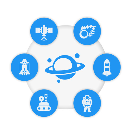 Space icons, satellite, comet, astronaut, shuttle, planet vector pictograms  イラスト・ベクター素材