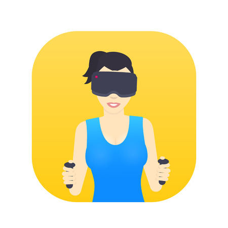 girl in virtual reality glasses, smiling gal playing videogame, female character in flat style Illustration