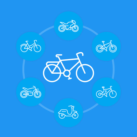Bikes icons in linear style, cycling, bicycles, motorcycle, motorbike, scooter