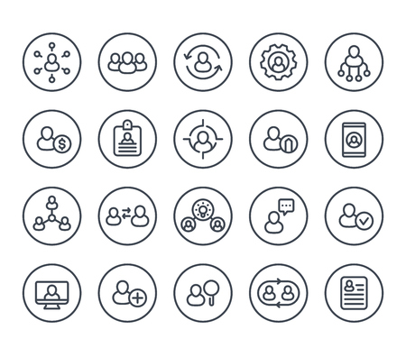 Human resources and personnel management line icons on white, HR, staff rotation, interaction, hiring.