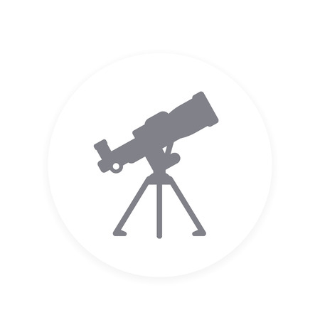 Telescope vector icon illustration on white background.