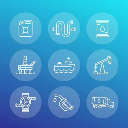 Petroleum industry line icons set, oil and gas production platform, rig, derrick, tanker ship, gasoline nozzle, petrol can, barrel. 일러스트