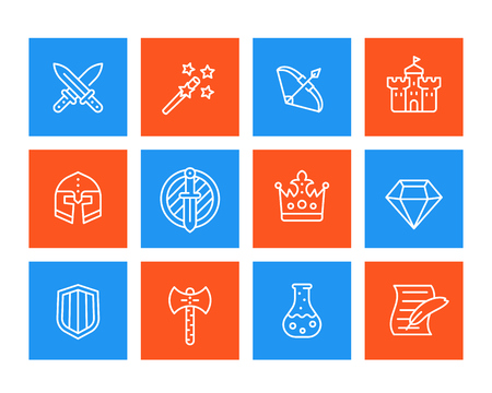 Game icons set, swords, magic wand, bow, fortress, helmet, shield, potion linear vector pictographs.