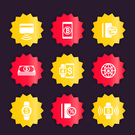 modern payment methods icons, vector badges