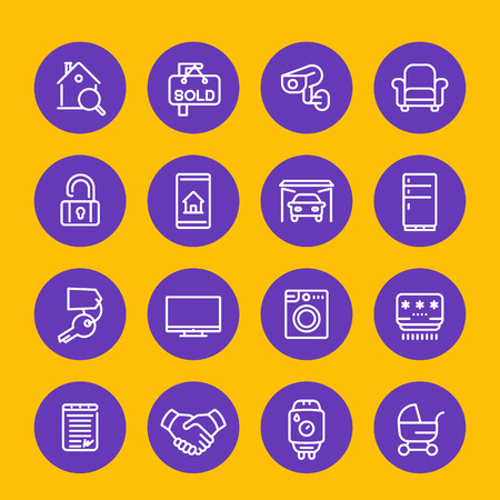 Real estate, apartments for rent line icons set Ilustracja