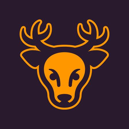 Deer head vector icon element, minimalist design illustration.