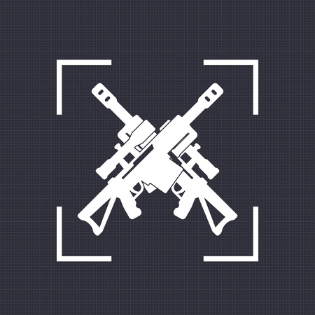 Sniper rifle icon, sign with crossed guns.