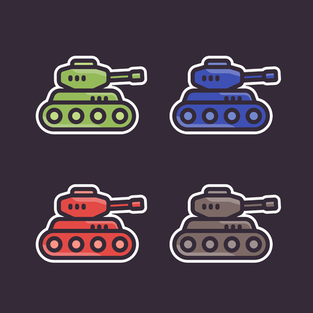 Battle tank, stickers, icons in flat style.